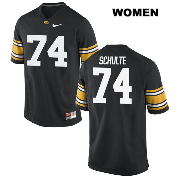 Authentic Stitched Iowa Hawkeyes no. 74 Austin Schulte Black Nike Womens College Football Jersey - Austin Schulte Jersey