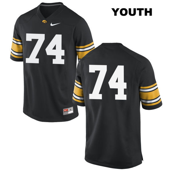 Authentic Iowa Hawkeyes no. 74 Nike Austin Schulte Stitched Black Youth College Football Jersey - No Name - Austin Schulte Jersey