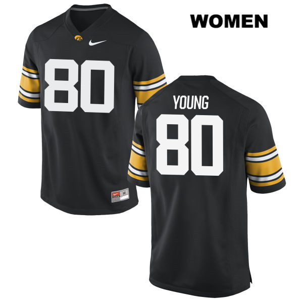 Authentic Iowa Hawkeyes Stitched no. 80 Devonte Young Nike Black Womens College Football Jersey - Devonte Young Jersey
