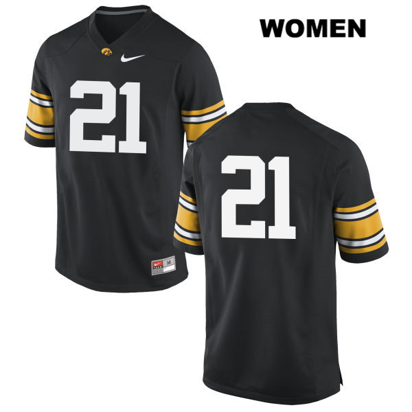 Authentic Nike Iowa Hawkeyes Stitched no. 21 Ivory Kelly-Martin Black Womens College Football Jersey - No Name