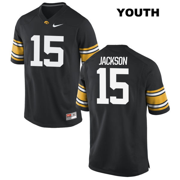 Stitched Authentic Iowa Hawkeyes no. 15 Joshua Jackson Nike Black Youth College Football Jersey