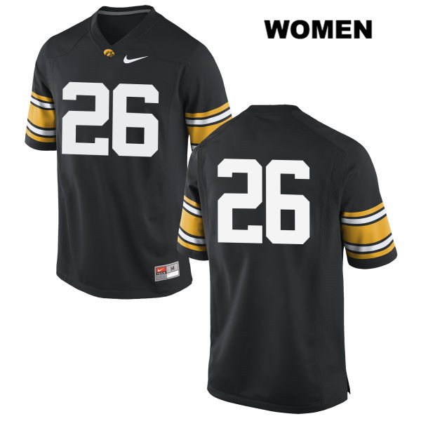 Authentic Stitched Iowa Hawkeyes no. 26 Nike Kevin Ward Black Womens College Football Jersey - No Name