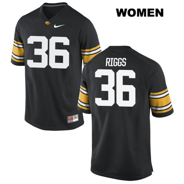 Authentic Stitched Iowa Hawkeyes no. 36 Mitch Riggs Nike Black Womens College Football Jersey - Mitch Riggs Jersey