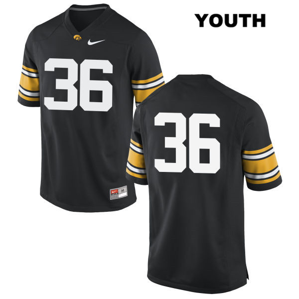 Authentic Iowa Hawkeyes Stitched no. 36 Mitch Riggs Nike Black Youth College Football Jersey - No Name - Mitch Riggs Jersey