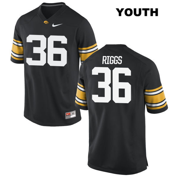 Authentic Stitched Iowa Hawkeyes no. 36 Nike Mitch Riggs Black Youth College Football Jersey - Mitch Riggs Jersey