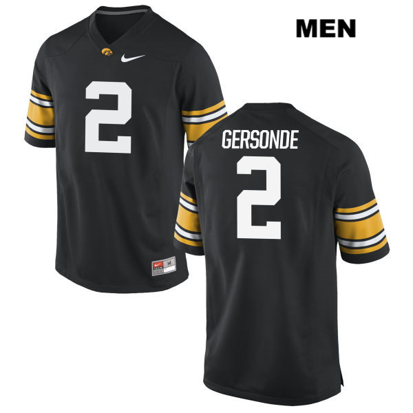 Stitched Authentic Iowa Hawkeyes Nike no. 2 Ryan Gersonde Black Mens College Football Jersey