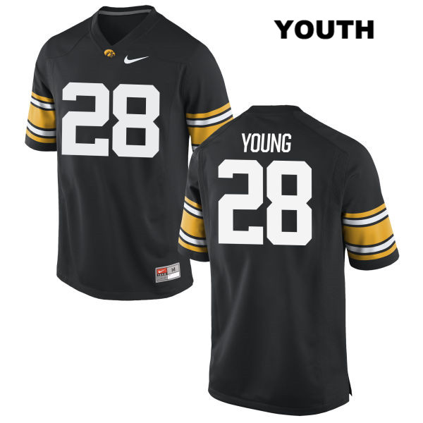 Stitched Authentic Iowa Hawkeyes no. 28 Nike Toren Young Black Youth College Football Jersey - Toren Young Jersey