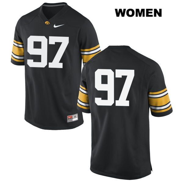 Authentic Stitched Iowa Hawkeyes no. 97 Tyler Kluver Black Nike Womens College Football Jersey - No Name - Tyler Kluver Jersey