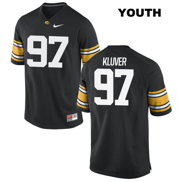 Stitched Authentic Iowa Hawkeyes no. 97 Tyler Kluver Nike Black Youth College Football Jersey - Tyler Kluver Jersey