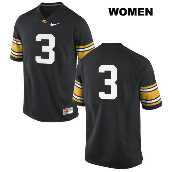 Authentic Stitched Iowa Hawkeyes no. 3 Nike Tyrone Tracy Jr. Black Womens College Football Jersey - No Name - Tyrone Tracy Jr. Jersey