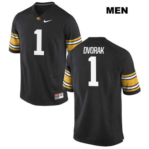 Authentic Iowa Hawkeyes no. 1 Stitched Wes Dvorak Nike Black Mens College Football Jersey